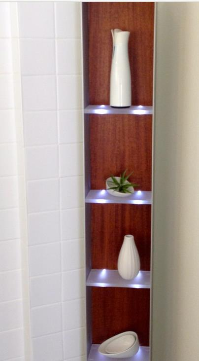 modern shelf in a single wide bathroom