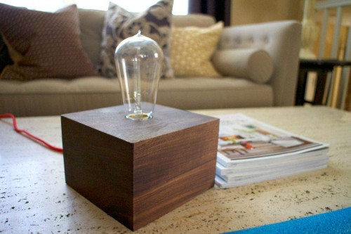 wood table lamp DIY