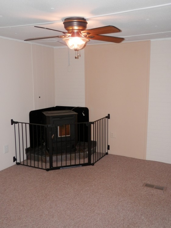 living room during mobile home remodel