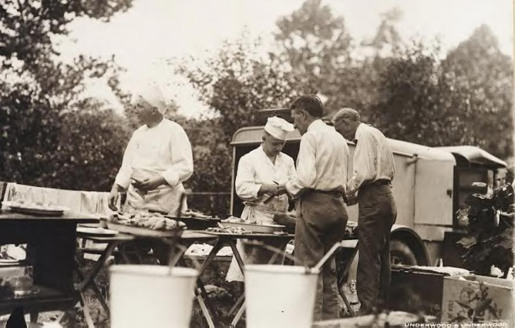 1925 harvey firestone and henry ford at campsite - probably michigan