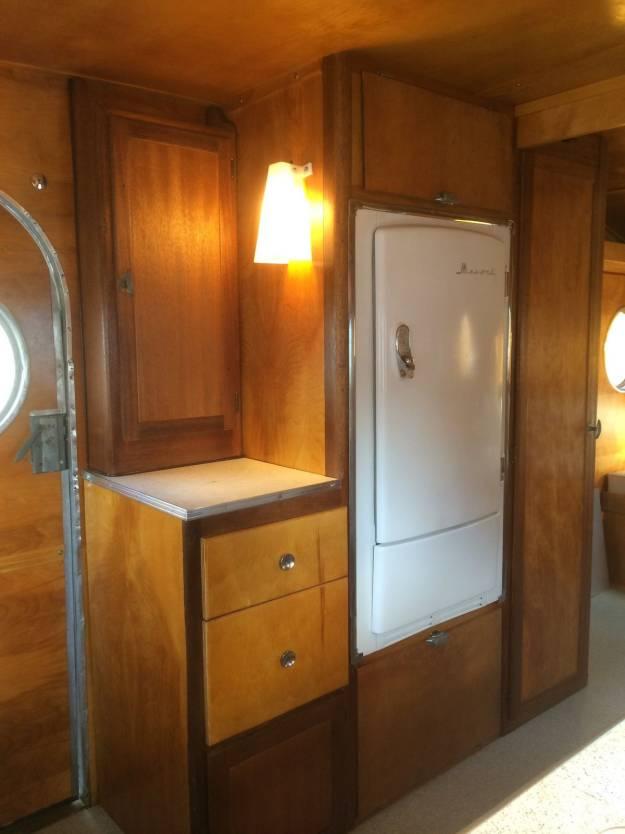 1953 Airfloat Navigator - Vintage Campers kitchen - refridgerator