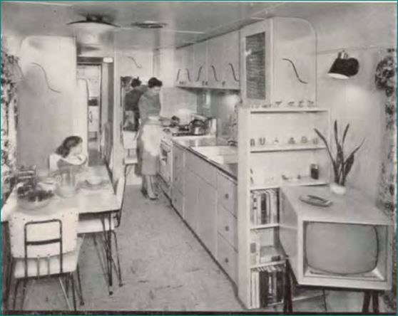 vintage mobile homes-1955 Straight Line Kitchen - American mobile Home