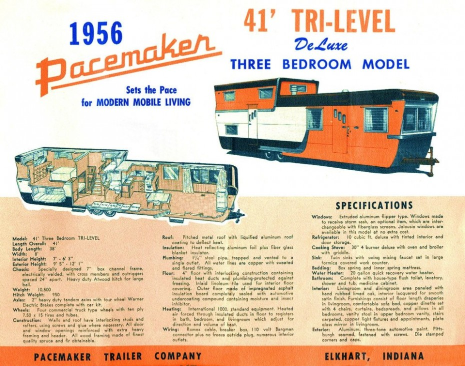 1956 41 foot Pacemaker Tri-Level - Two Story Mobile Homes