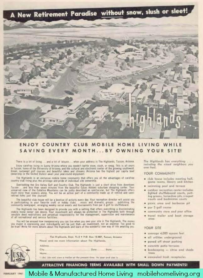 Vintage mobile homes-1961 community sales