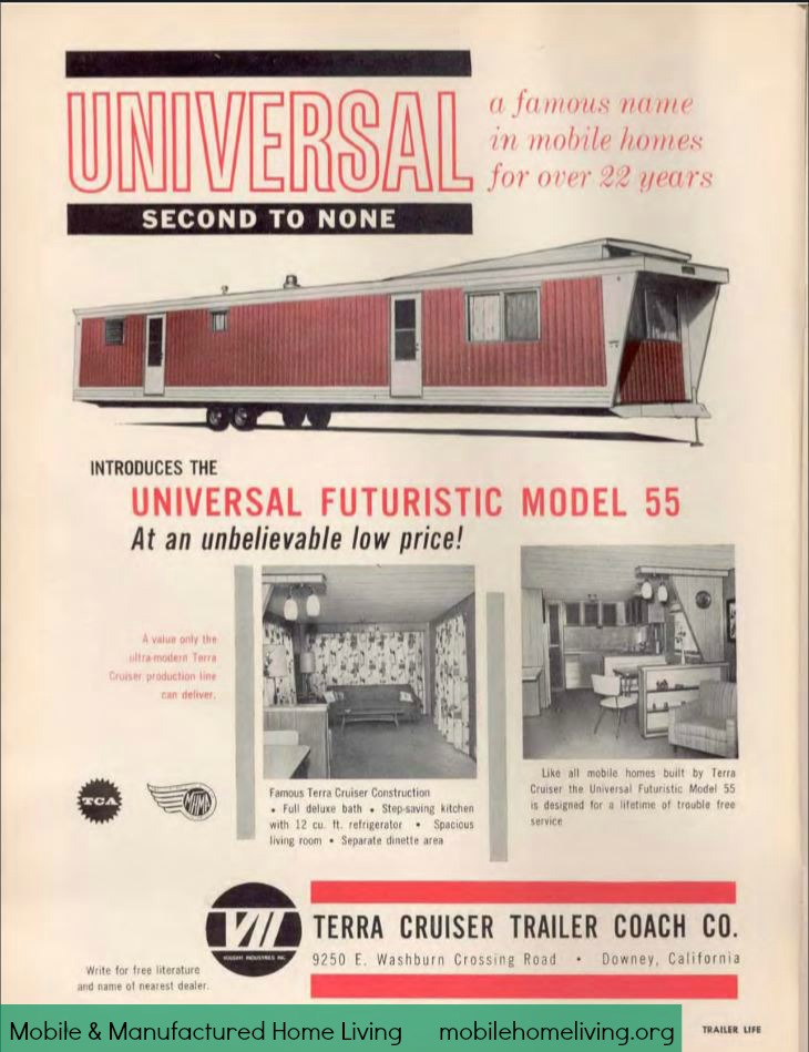 vintage mobile homes-1961 universal futuristic model 55