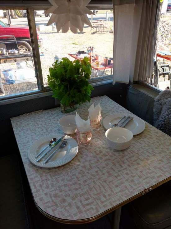 Vintage camper restoration - 1962 streamline dutchess - interior after - close up dining area 2