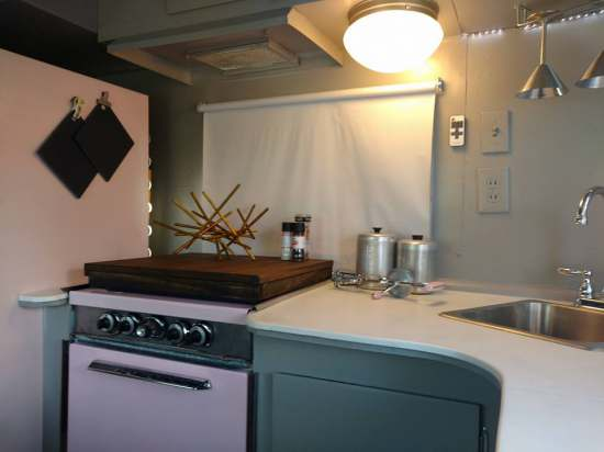 Vintage Camper Restoration - 1962 Streamline Dutchess - Interior After - close up of kitchen
