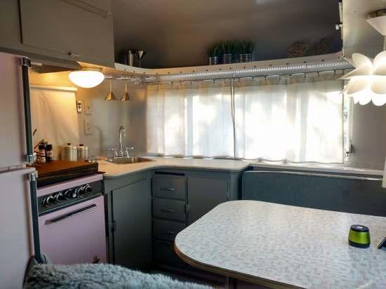 Vintage Camper Restoration - 1962 Streamline Dutchess - Interior After - close up dining area and kitchen