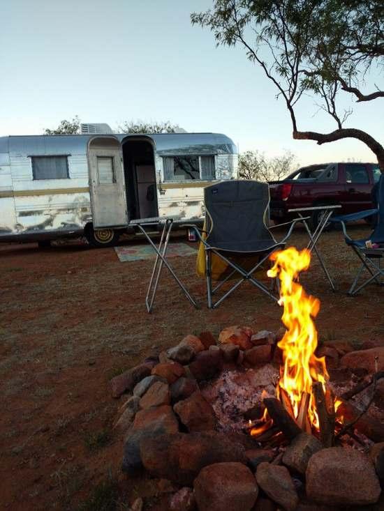 Vintage Camper Restoration - 1962 Streamline Dutchess - Exterior at campground