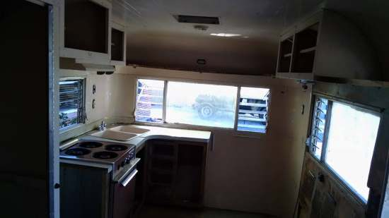 Vintage camper restoration - 1962 streamline dutchess - interior during restoration