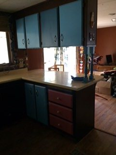 kitchen before remodel in mobile home
