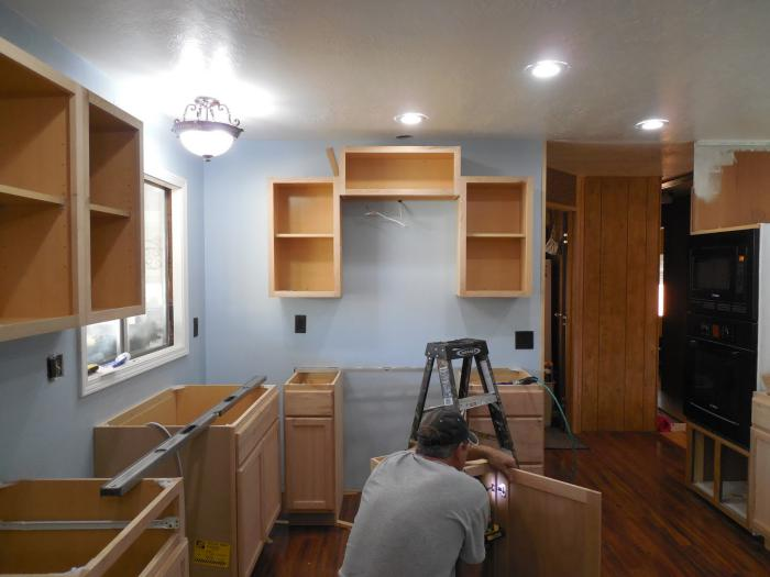 1979 Mobile Home Kitchen Makeover - installing new cabinetry