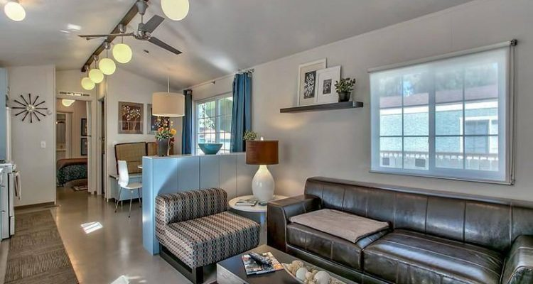 Modern Mobile Home Decor: Contemporary Mountain Chic -2 bedroom 2 bath mobile home for sale in Truckee, CA - Interior - Living Room and Kitchen