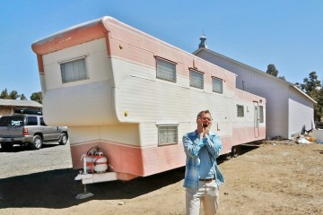 2 story pink mobile home