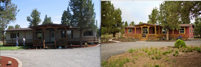 interior designer's manufactured home remodel - before and after images of a manufactured home renovation - exterior