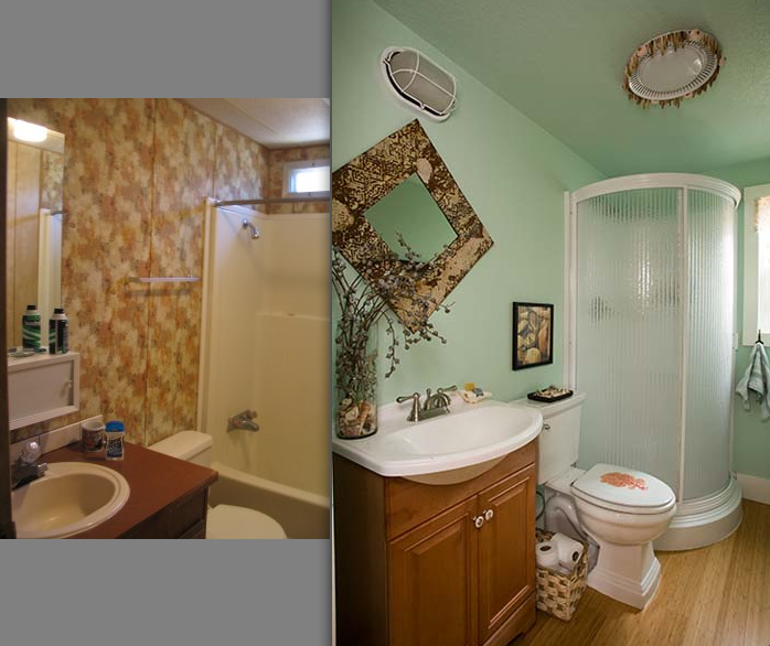 interior designer's manufactured home remodel - before and after images of a manufactured home renovation - bathroom before and after