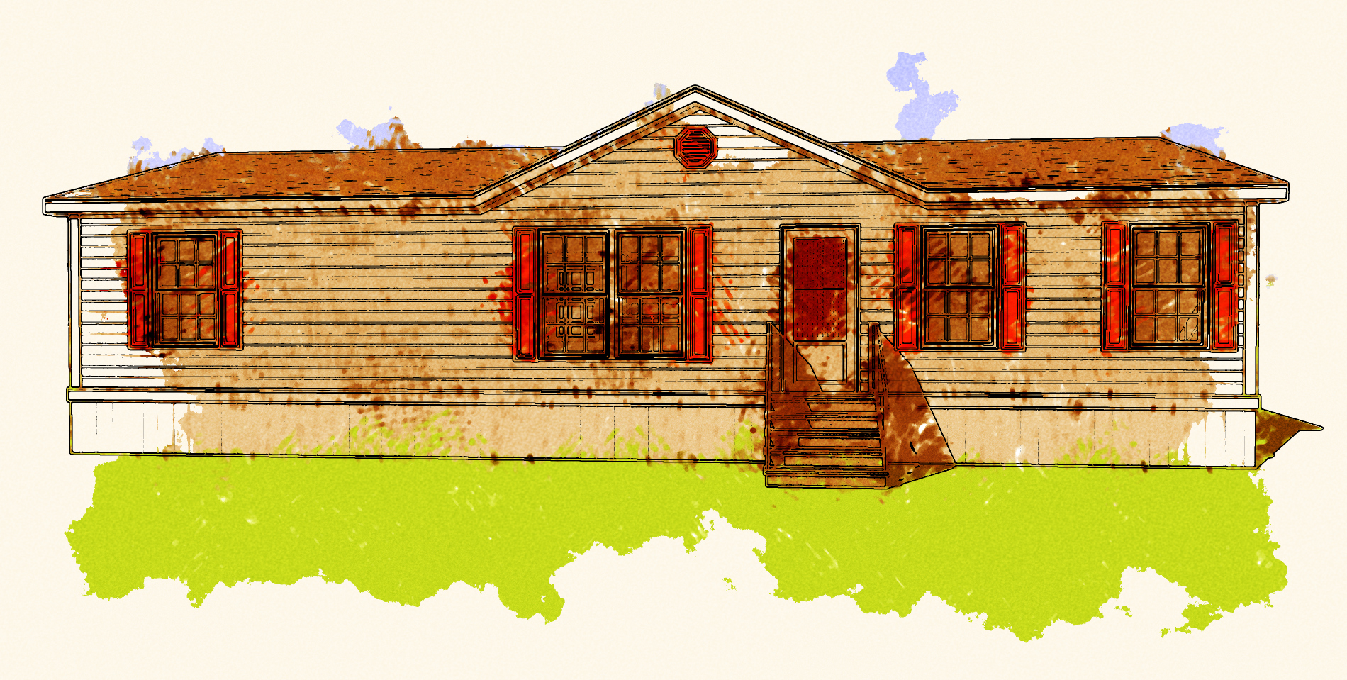 mobile home art - tan double wide manufactured home drawing in color - sketch