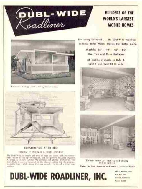 Expandable Mobile Homes - Dubl-Wide Roadliner design ad