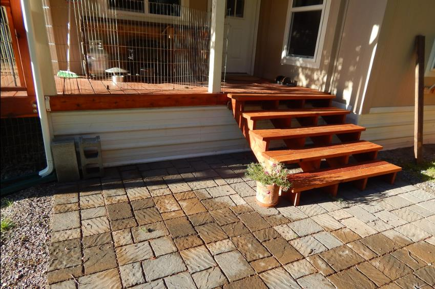 double wide home improvements-double wide deck before skirting