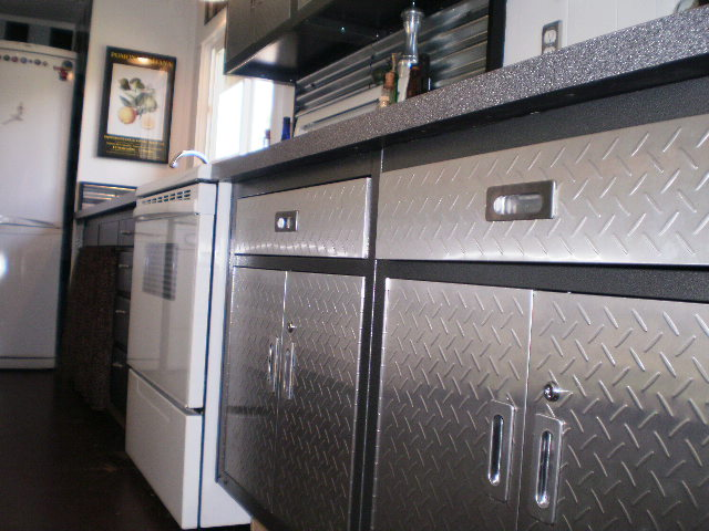 using metal garage cabinets in a kitchen