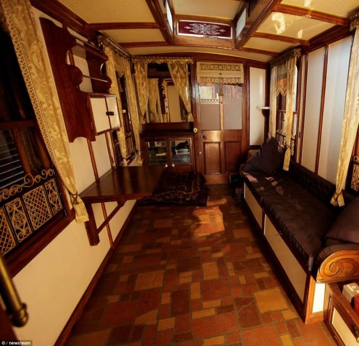 Interior of the worlds oldest mobile home; vintage mobile home restoration