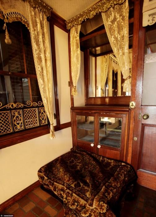 Interior of the worlds oldest mobile home, the wanderer; vintage mobile home restoration