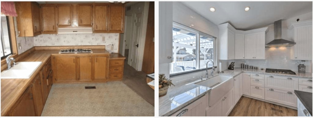 Malibu Million Dollar Mobile Home Marble Counter And Tile Backsplash Before And After