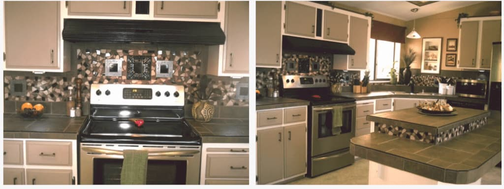 Examples of backsplashes in mobile homes mosaic tile