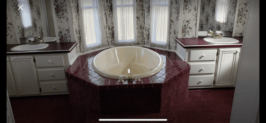 Master bathroom in mobile home