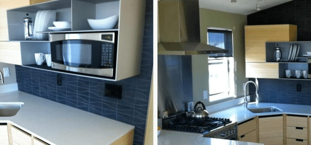 Modern contemporary tile in a single wide mobile home kitchen