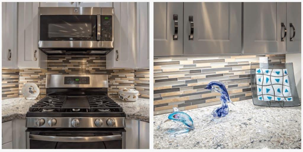 Modern manufactured home kitchen remodel kitchen backsplash with glass tile