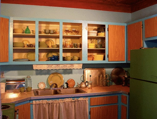 Unique 60s style kitchen in mobile home