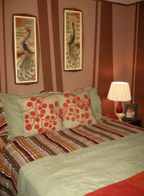Calm bedroom in mobile home
