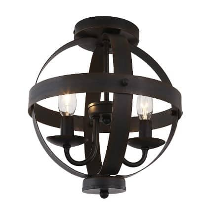 10 in metal orb semi flush light fixture