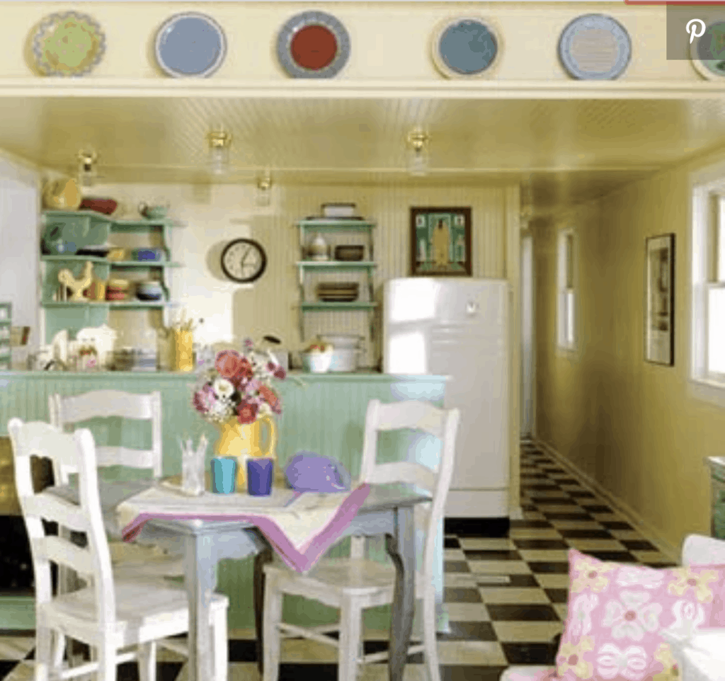 1940s style kitchen with pastel colors in single wide makeover