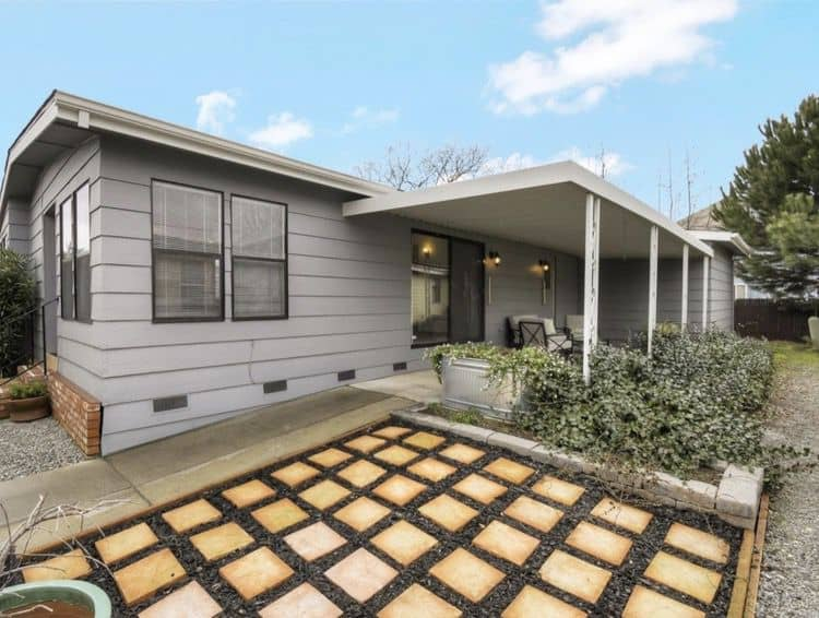 diagonal paving stone to mobile home awning