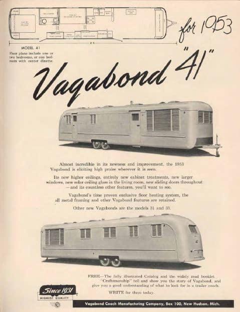 Vagabond vintage mobile home Ad