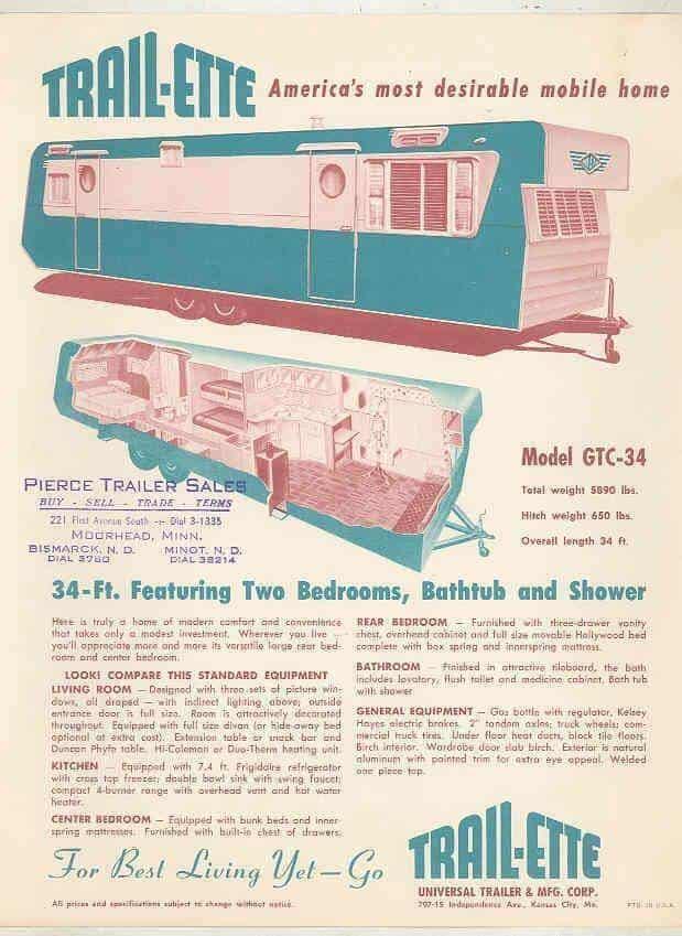 1954 trailette 34 foot mobile - 1954 trailer remodel