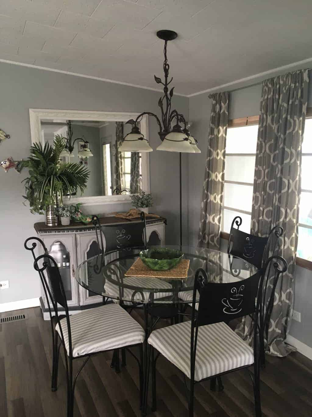 1964 chateau low chandelier over dining room table 1