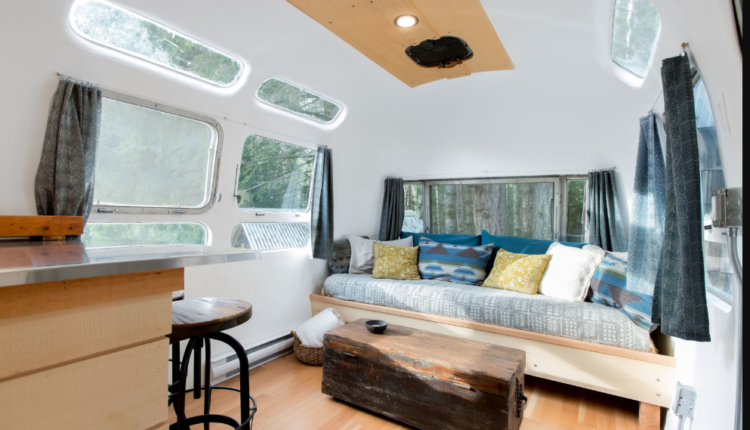S Airstream Renovation Couch And Coffee Table