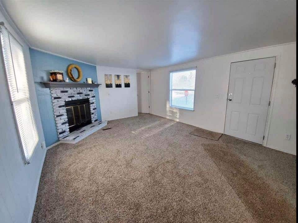S mobile home interior fireplace
