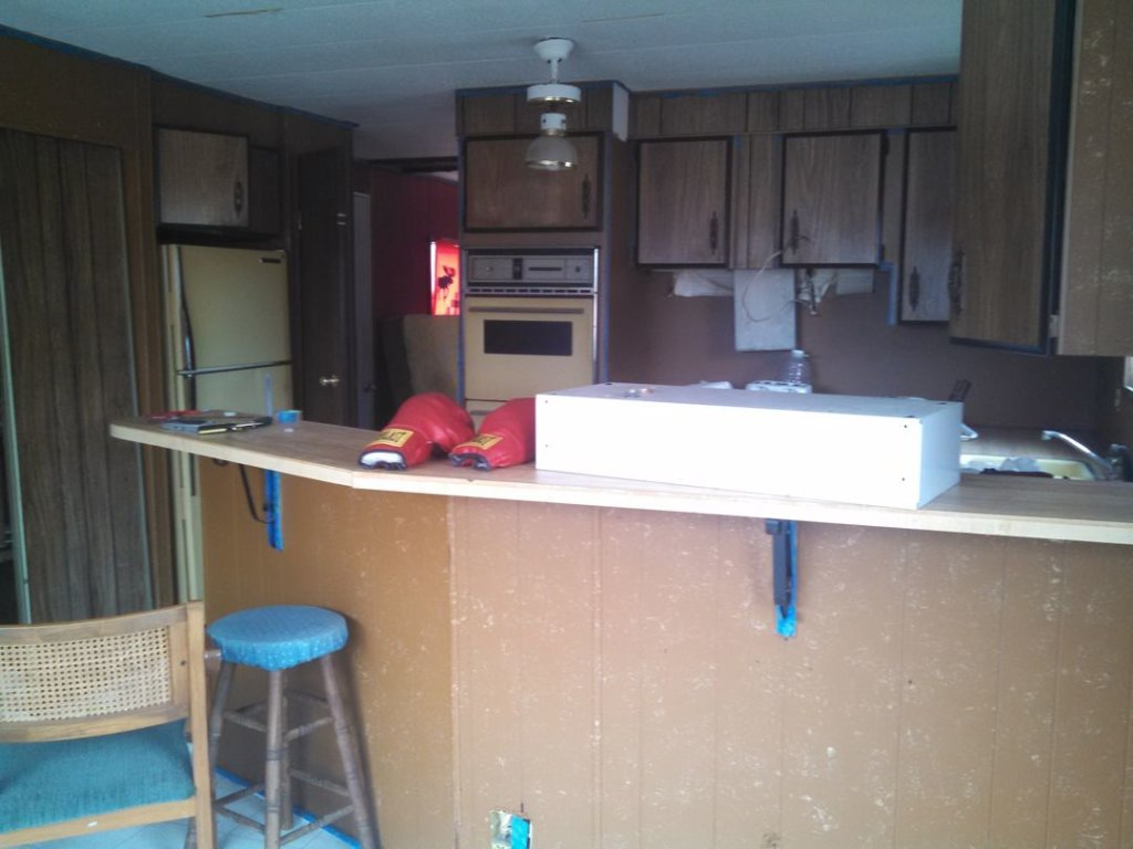 1976 single wide kitchen before