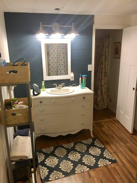 bathroom after remodel in vintage mobile home