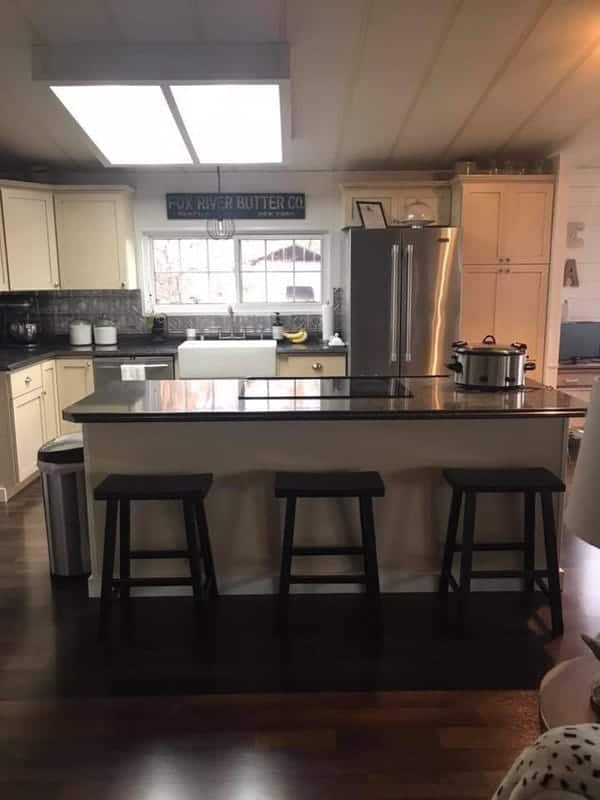 1984 double wide manufactured home remodel - island breakfast bar
