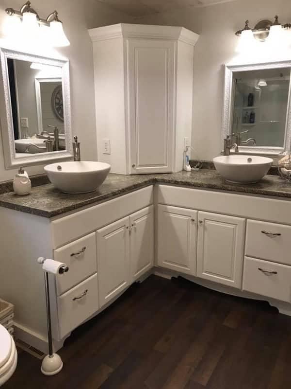 1984 double wide manufactured home remodel master bathroom vanities