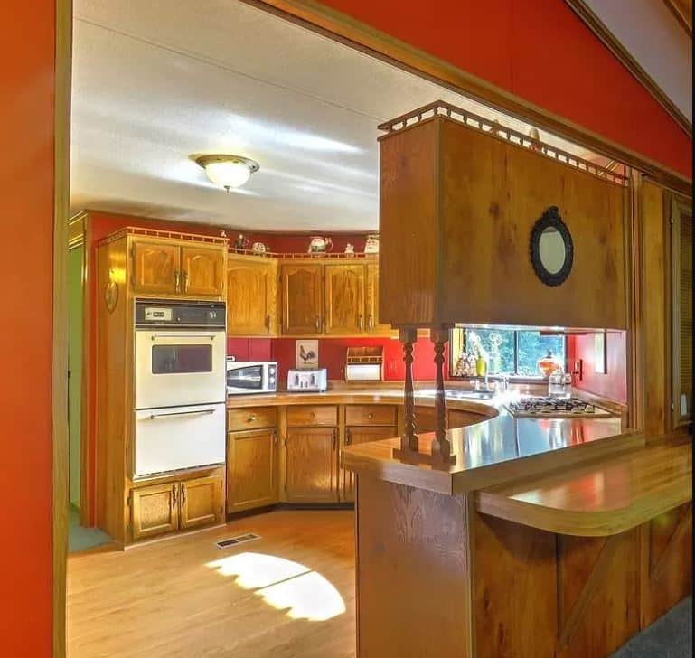 Double wide with carport circular kitchen