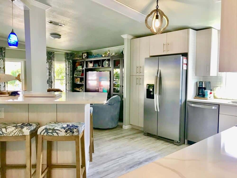 1988 Fuqua Double Wide Manufactured Home Remodel Kitchen And Living Room After