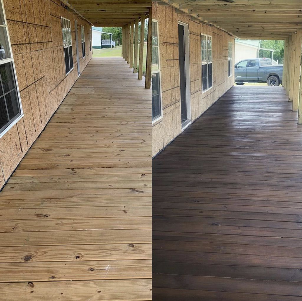 Buccaneer Double Wide Remodel Staining The Front Porch