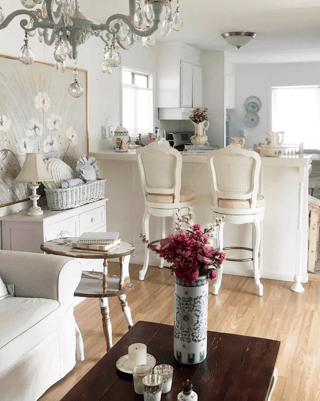 kitchen counter and living room in shabby chic