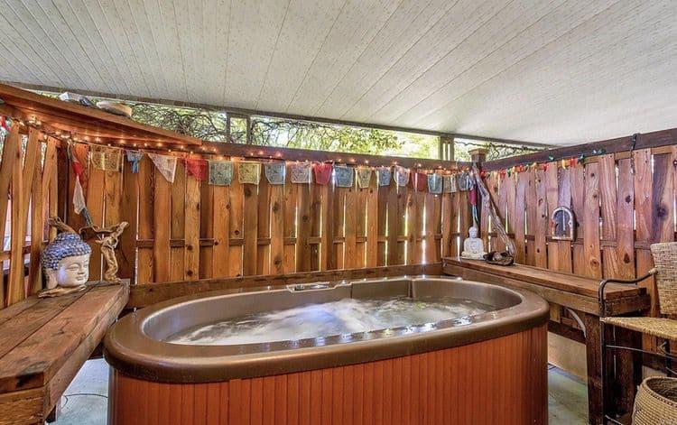 Secret hot tub under mobile home awning